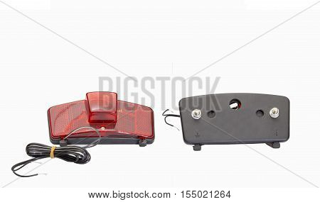 Rear red reflectors for bike wheel isolated on a white background