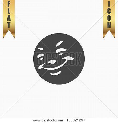 Smile. Flat Icon. Vector illustration grey symbol on white background with gold ribbon
