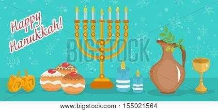 Happy Hanukkah greeting card invitation poster. Hanukkah Jewish Festival of Lights. Hanukkah Greeting Card with Menorah Sufganiyot Olives and Dreidel. Vector illustration