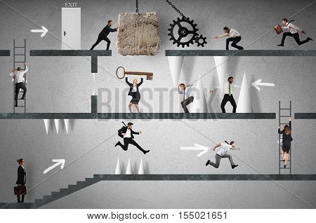 Business people trying to make an obstacle path. career with obstacles concept