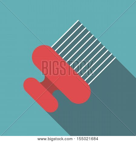Red vintage hair comb icon. Flat illustration of red vintage hair comb vector icon for web
