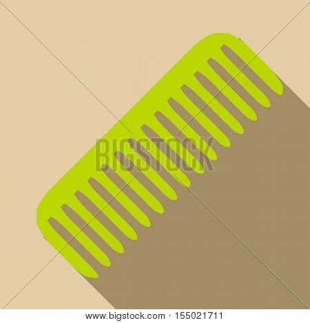 Green comb icon. Flat illustration of green comb vector icon for web