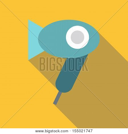 Blue hairdryer icon. Flat illustration of blue hairdryer vector icon for web