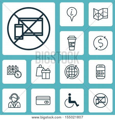 Set Of Transportation Icons On Appointment, Money Trasnfer And Takeaway Coffee Topics. Editable Vect