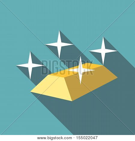 Gold bar icon. Flat illustration of gold bar vector icon for web