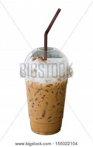 Iced coffee in plastic glass on wooden table. Selective focus.