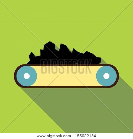 Conveyor belt carrying coal icon. Flat illustration of conveyor belt carrying coal vector icon for web