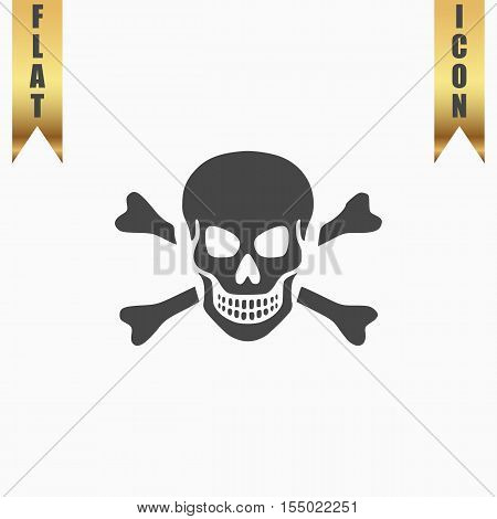 Skull and crossbones. Flat Icon. Vector illustration grey symbol on white background with gold ribbon