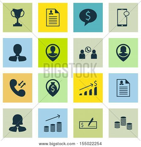 Set Of Human Resources Icons On Tournament, Cellular Data And Messaging Topics. Editable Vector Illu