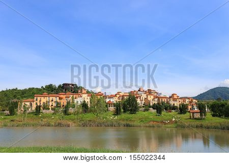 Scenic view of one hotel & resort town made of Toscana Valley theme in italian style at Pak Chong Korat Nakhon Ratchasima Thailand