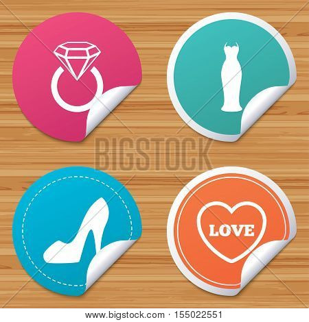 Round stickers or website banners. Wedding slim dress icon. Women's shoe and love heart symbols. Wedding or engagement day ring with diamond sign. Circle badges with bended corner. Vector