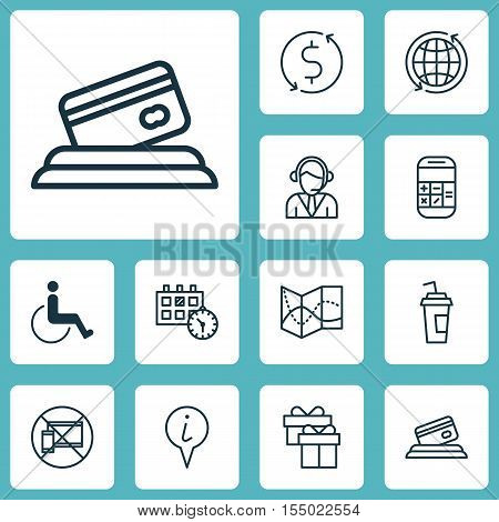 Set Of Traveling Icons On Present, World And Calculation Topics. Editable Vector Illustration. Inclu