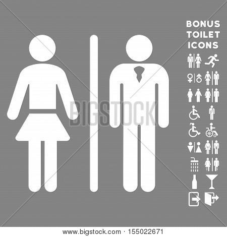 Toilet Persons icon and bonus man and lady lavatory symbols. Vector illustration style is flat iconic symbols, white color, gray background.