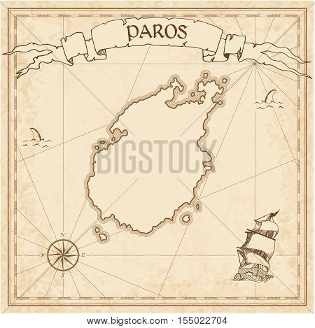 Paros Old Treasure Map. Sepia Engraved Template Of Pirate Island Parchment. Stylized Manuscript On V