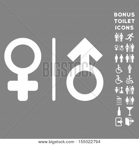 WC Gender Symbols icon and bonus male and woman lavatory symbols. Vector illustration style is flat iconic symbols, white color, gray background.