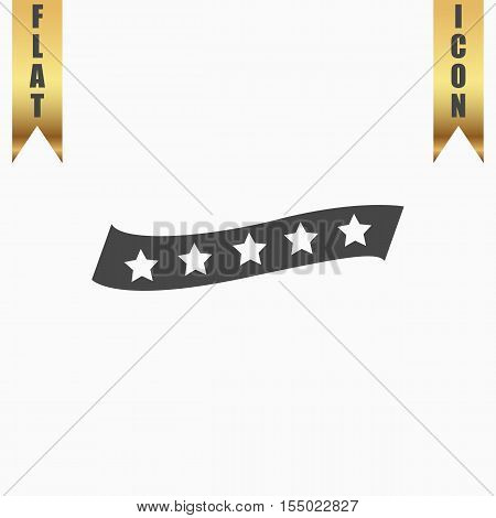 Recommended bestseller star ribbon. Flat Icon. Vector illustration grey symbol on white background with gold ribbon