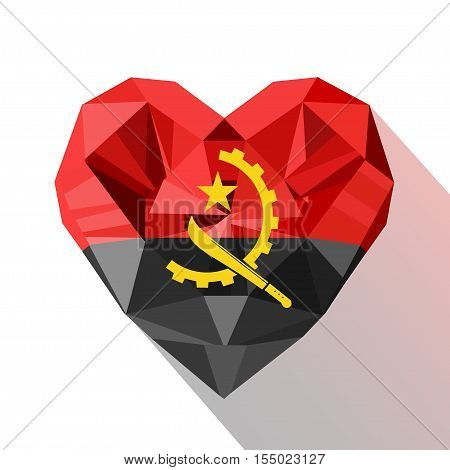 Vector crystal gem jewelry Angola's heart with the flag of the Republic of Angola. Flat style logo symbol of love Angola. Africa.