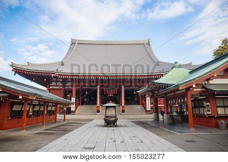TOKYO JAPAN -November 19:Unidentified tourists in the Senso-ji Temple on November 19 2014 in TokyoJapan.The Sensoji Buddhist Temple is the symbol of Asakusa and one of the most famous temples in all of Japan