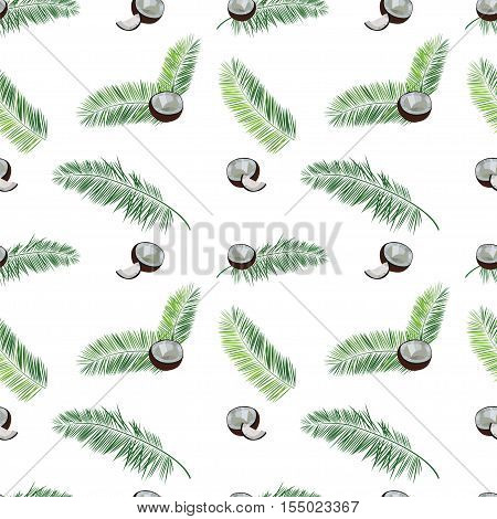 White vector coconut seamless  pattern. Coconut, palm leaves seamless vector pattern on white background. Tropic hawaiian print illustration with coconut and palm leaves.