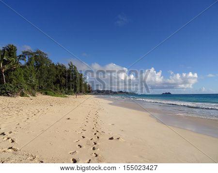 Foot prints path in the sand on Waimanalo Beach at looking towards mokulua islands on Oahu Hawaii.