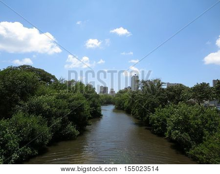 Waterway leading to Waikiki surrounded by trees with hotel towers in the distance on a nice day on Oahu Hawaii.