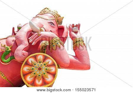 Beautiful Ganesh statue isolated on white background Is highly respected by the people of Asia. clipping path and copy space