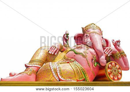 Beautiful Ganesh statue isolated on white background Is highly respected by the people of Asia. clipping path