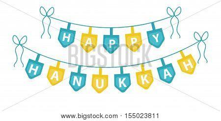 Happy Hanukkah garland ribbon. Hanukkah garland for party. Hanukkah Jewish festival of decorative elements. Hanukkah garland flat style. Vector illustration