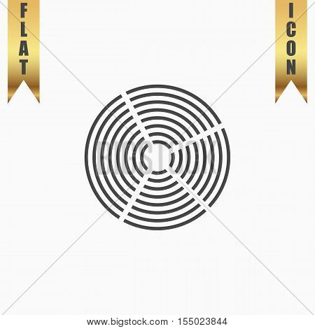 Crop Circle. Flat Icon. Vector illustration grey symbol on white background with gold ribbon