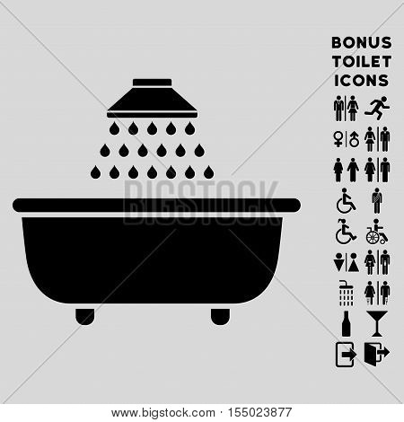 Bath Shower icon and bonus male and lady lavatory symbols. Vector illustration style is flat iconic symbols, black color, light gray background.