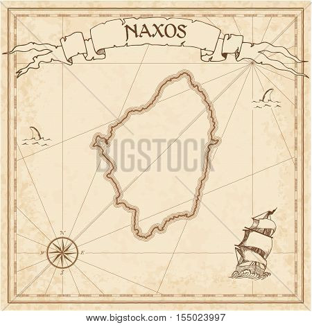 Naxos Old Treasure Map. Sepia Engraved Template Of Pirate Island Parchment. Stylized Manuscript On V