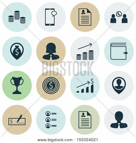 Set Of Human Resources Icons On Phone Conference, Business Woman And Coins Growth Topics. Editable V