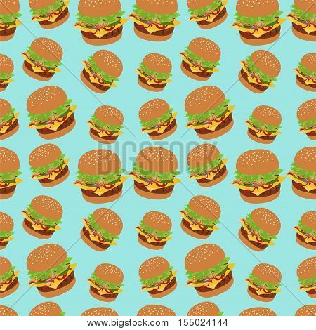 Seamless vector pattern with burger image. Cheeseburger blue background. Image of burger. Burger icon seamless background. Blue pattern with burger. Cheeseburger illustration.