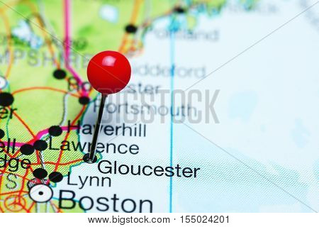 Gloucester pinned on a map of Massachusetts, USA