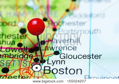 Lynn pinned on a map of Massachusetts, USA