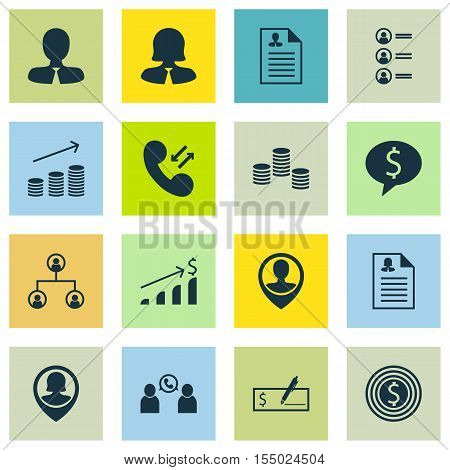 Set Of Human Resources Icons On Business Woman, Employee Location And Money Topics. Editable Vector