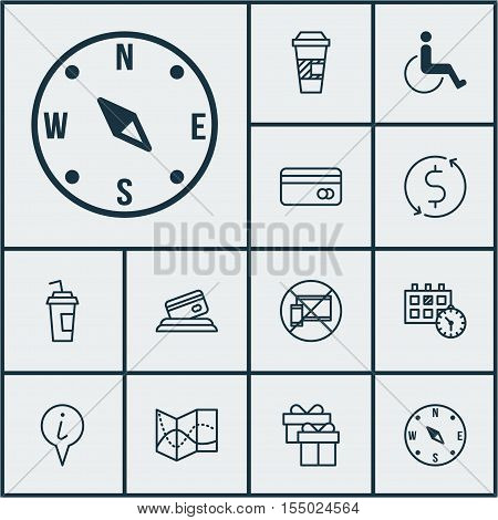Set Of Airport Icons On Info Pointer, Road Map And Accessibility Topics. Editable Vector Illustratio