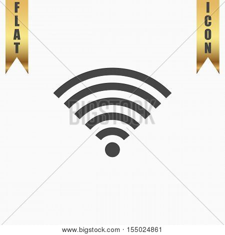 Wireless Network. Flat Icon. Vector illustration grey symbol on white background with gold ribbon
