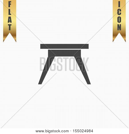 Small table. Flat Icon. Vector illustration grey symbol on white background with gold ribbon