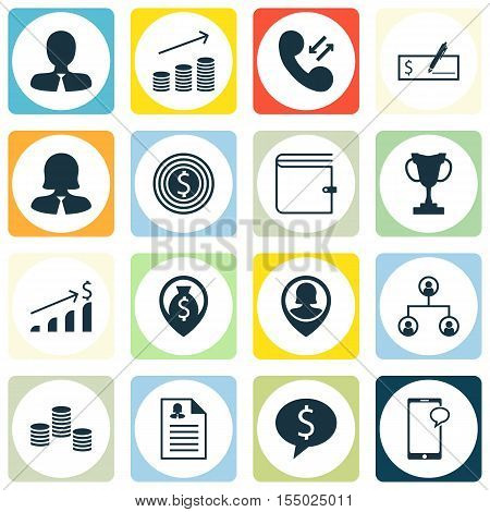 Set Of Management Icons On Successful Investment, Wallet And Coins Growth Topics. Editable Vector Il