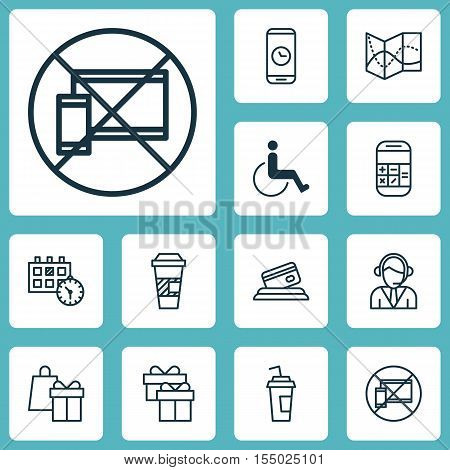 Set Of Travel Icons On Drink Cup, Present And Road Map Topics. Editable Vector Illustration. Include