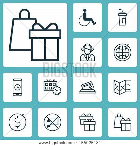 Set Of Traveling Icons On Forbidden Mobile, World And Appointment Topics. Editable Vector Illustrati