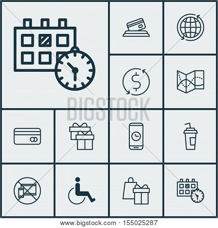 Set Of Travel Icons On Credit Card, Drink Cup And Appointment Topics. Editable Vector Illustration.
