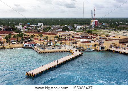 Cozumel Mexcio - November 2nd 2016: Duty Free shopping mall in port of Cozumel Mexico November 2nd 2016