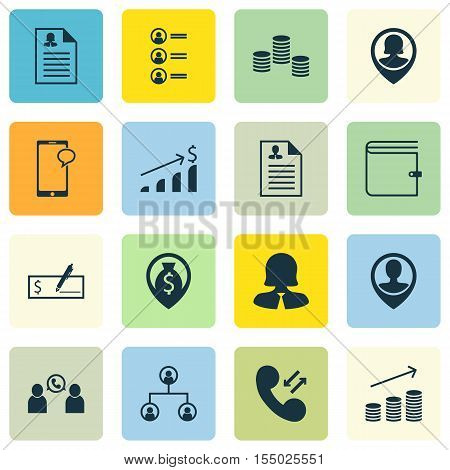 Set Of Human Resources Icons On Phone Conference, Money Navigation And Female Application Topics. Ed