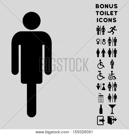Man icon and bonus male and woman restroom symbols. Vector illustration style is flat iconic symbols, black color, light gray background.