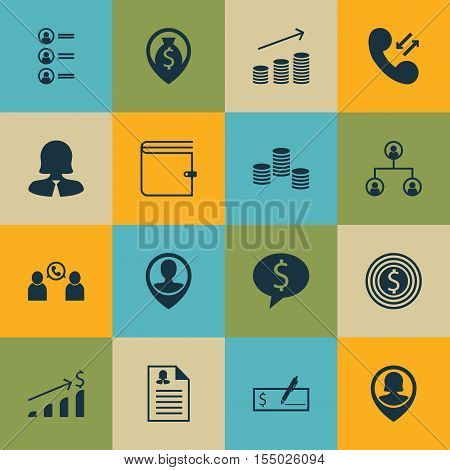 Set Of Management Icons On Pin Employee, Business Goal And Employee Location Topics. Editable Vector