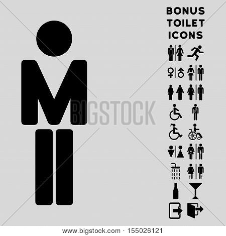 Man icon and bonus man and woman lavatory symbols. Vector illustration style is flat iconic symbols, black color, light gray background.
