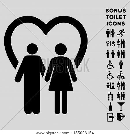Marriage icon and bonus gentleman and lady restroom symbols. Vector illustration style is flat iconic symbols, black color, light gray background.