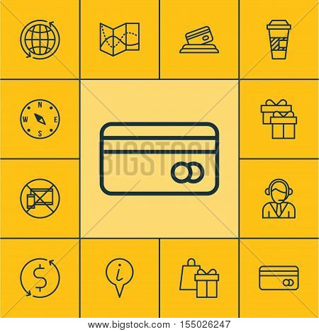 Set Of Airport Icons On Shopping, Info Pointer And Credit Card Topics. Editable Vector Illustration.